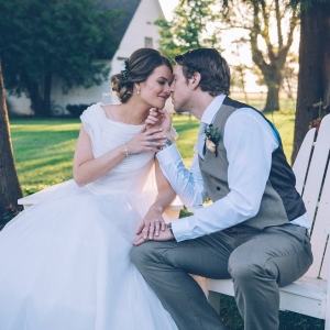 Gorgeous shot of a bride + groom embrace!