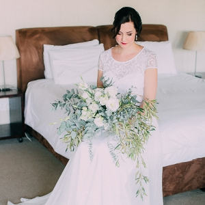 Bride with Large Greenery Bouquet
