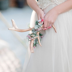 Gold Antler with Flowers