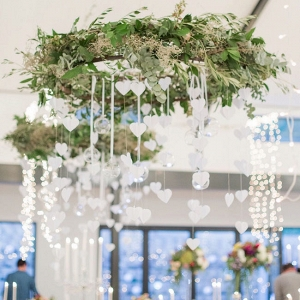 Greenery Chandeliers with Hanging Hearts