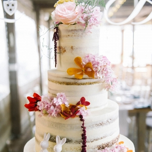 Semi Naked Wedding Cake with Bunny Topper