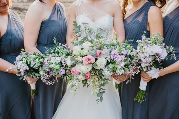 Bridesmaids in Grey Dresses