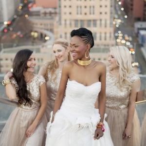 Bridesmaids in gold sequin dresses