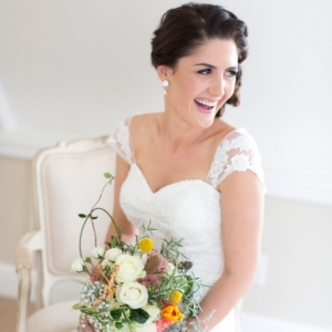 Bride with bright bouquet