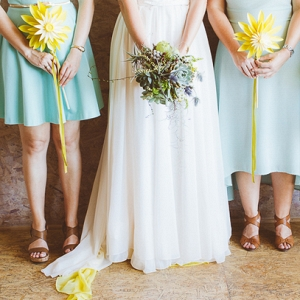 Bridesmaids with Paper Flowers