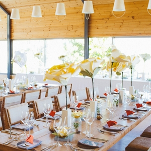 Tables with Oversize Paper Flower Centerpieces