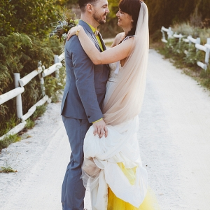 Wedding Dress with Yellow Underskirt