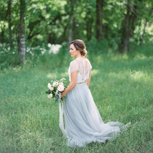 Blue and White Two Piece Wedding Dress