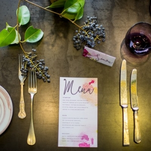 Place setting with watercolor detail