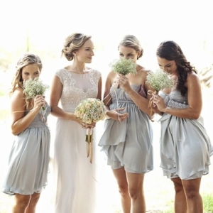 Pale blue bridesmaid dresses