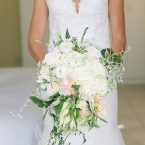 Blush cascade wedding bouquet