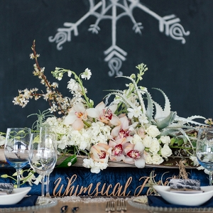 Winter Table with Chalkboard Backdrop
