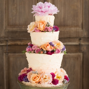 Opulent Floral Tiered Wedding Cake