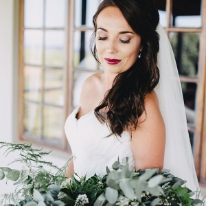 Bride with Oversize Greenery Bouquet