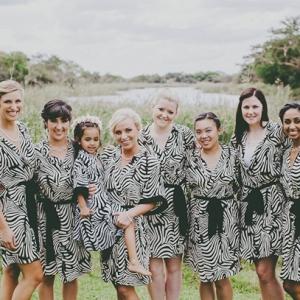 Bridesmaids in Zebra Print Robes