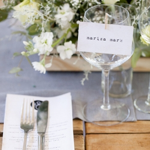 Place Setting with Vintage Typewriter Typography Detail