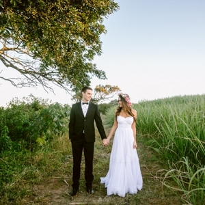 Bride & Groom in Cane Fields