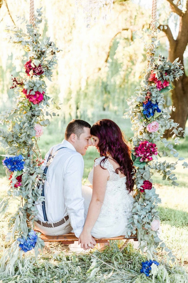 Couple on Floral Swing
