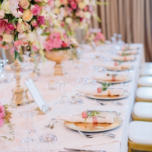 Tablescape with Gold & Pink Accents