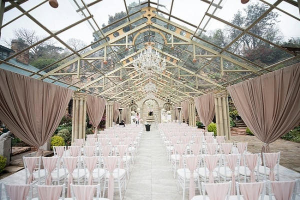 Romantic Rose Gold Glass Marquee Wedding Aisle Society