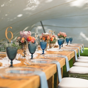 Rustic Tablescape with Blue Glassware