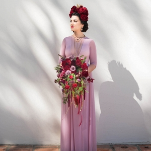 Bride in Pink Dress with Frida Kahlo Headpiece