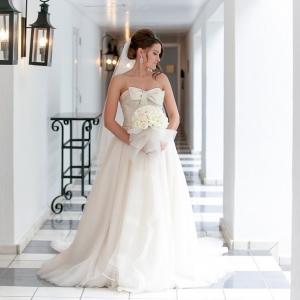 Bride in Vera Wang wedding dress