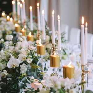 Glamorous Table with Gold & White Candles