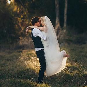 Forest wedding bride & groom
