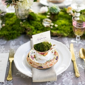Whimsical forest place setting