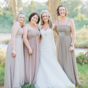Mismatched neutral bridesmaids