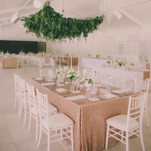 Hanging greenery reception decor