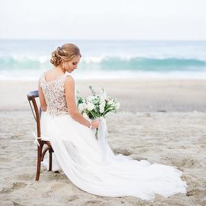 Bride wearing a flowy wedding dress