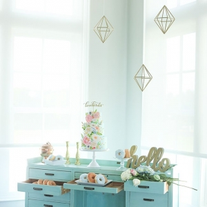 Wedding Dessert Table In Robin's Egg Blue With Suspended Geometric Decor