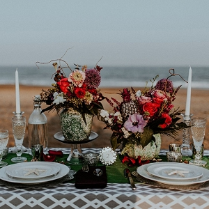 Jewel Tone Beach Wedding Tablescape The Hursts & Co