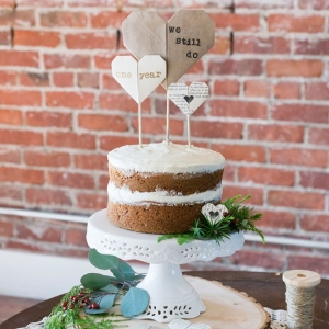 Rustic Naked Wedding Cake With Paper Origami Heart Cake Toppers Peterson Design Photography