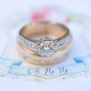 Mixed Gold Diamond Wedding Ring With Antique Detailing Christine Glebov Photography