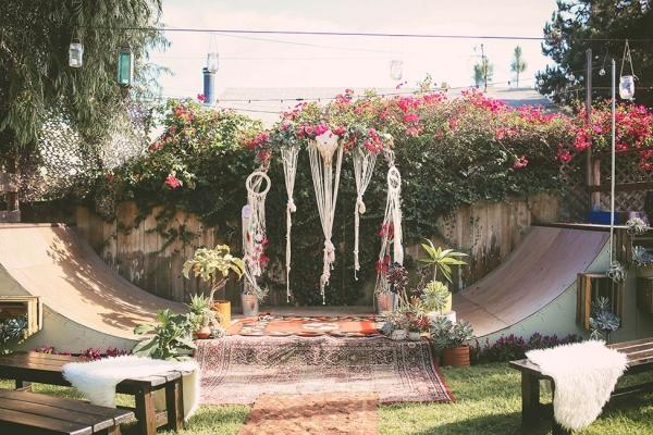 Socal Backyard Wedding With Bohemian Skater Flare  Aisle Society