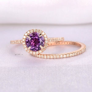 Amethyst wedding ring set