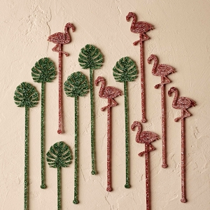 Tropical Swizzle Sticks with Flamingos and Palm Fronds