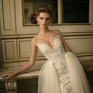 Beaded lace and tulle ball gown