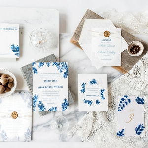 Blue fern invitation suite