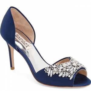 Blue satin bridal shoes with a crystal embellishment