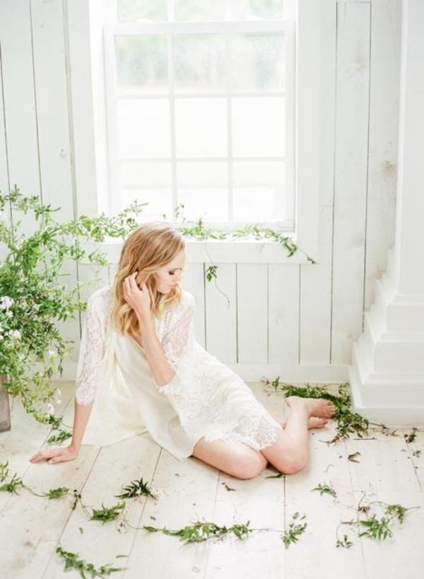 Greenery-filled bridal boudoir shoot