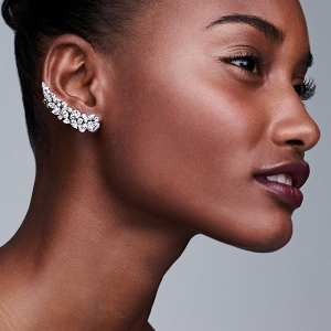 Cubic zirconia stud ear crawlers