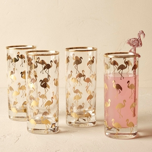 Set of Gold Flamingo Glasses