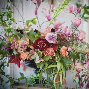 Wild, overgrown floral arrangement by BRRCH