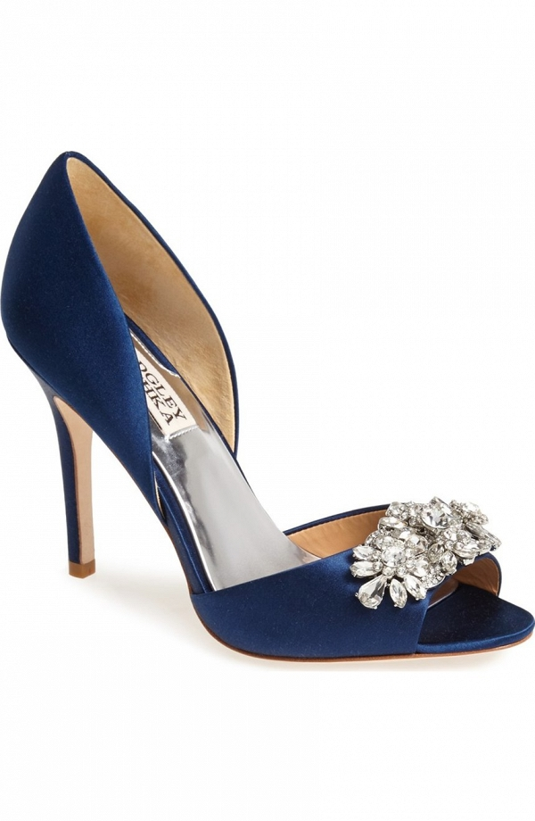 Blue satin d'Orsay pump