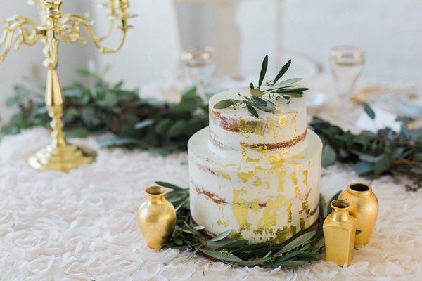 Gold-leafed naked cake