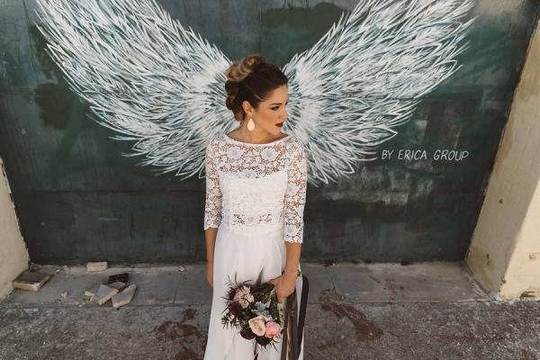 Angel wing bridal portrait